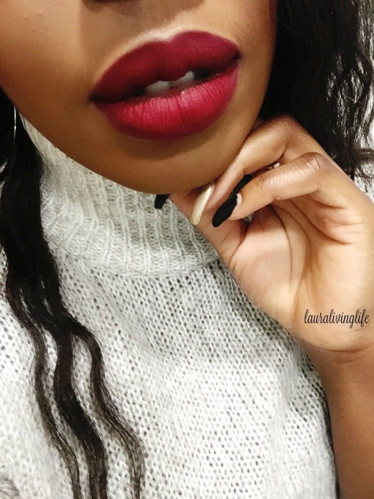 Coloured Raine Matte Lip paint in Cherry Blossom lip swatch