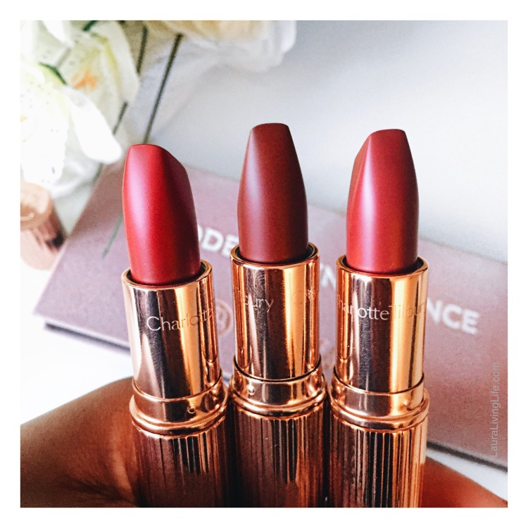 Charlotte Tilbury matte revolution lipsticks review and swatches lauralivinglife.com