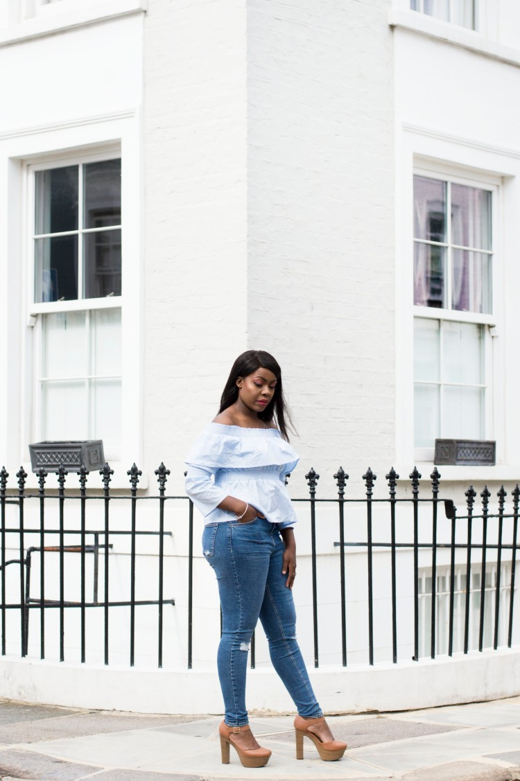missguided baby blue off the shoulder top