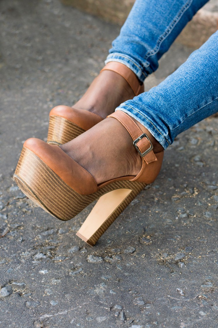 camel high heel wedges new look