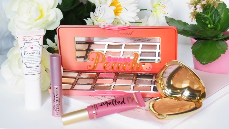 Too faced sweet peach palette, hangover face primer, better than sex mascara, melted liquefied longwear lipstick and love lights prismatic highlighter review